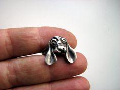 Dog ring sterling silver basset hound
