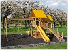 The Easy Fun Big Backyard Swing Set. Easy fun and easy exercise for your children with this wooden play set. Backyard Swing Sets, Big Backyard, Backyard Playground, Wood Swing Sets, Wooden Playset, Lawn Furniture, Kids Play Area, Amish Country, Kids Playing