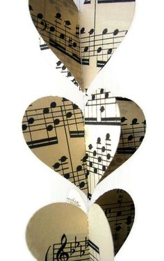 Heart Garland- Vintage Sheet Music- Mini and Sweet Paper Heart Garland Decoration- Ready to Ship. $7.00, via Etsy.