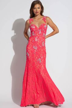 The stunning lace prom gown shines bright in watermelon! Wait until you see the back! Jovani Style 89408