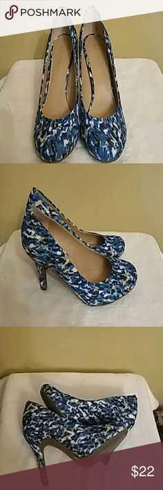 Kelly and Katie Isabel pumps Textile upper balance man-made really cute pump! Comfortable heel size. They have blue, pink, yellow, white, and black in them. These shoes will go well with solid color dresses, skirts or jeans. Great condition! Kelly & Katie Shoes Heels