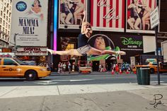 split leap, times square, new york. Bucket list dream! With a straddle leap!