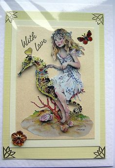 Sea Fairy HandCrafted 3D Decoupage Card  With by SunnyCrystals, $3.55