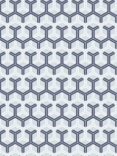 DecoratorsBest - Detail1 - CS 93/15051 - HONEYCOMB-BLUE & WHITE - Wallpaper - DecoratorsBest