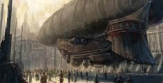 airship landing | Steampunk | Dieselpunk
