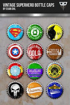 Classic Marvel/DC heroes designed onto vintage bottlecaps.