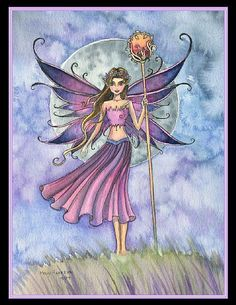Art 'Luna Fae' - by Molly Harrison from Unicorns And Mermaids, Gothic Fairy, Fairy Coloring, Fantasy Art, Fantasy Fairies, Fairy Land, Art Portfolio, Drawing People, Mythical Creatures