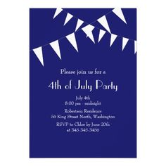 July 4th Blue Flags Party Invitation