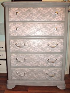 Refinished Dresser Using Lace - HowToInstructions.Us