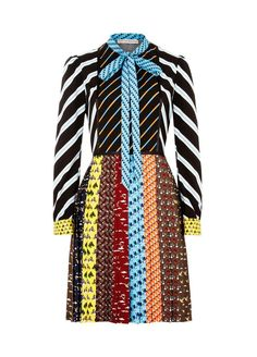 [expand-title] DESCRIPTION [/expand-title] [expand-content]Drawing inspiration from vintage 60s ties, the cleverly engineered print of the Mary Katrantzou Knight Dress features bold geometric stripes in the body and miniature animals in pleated skirt finishing above the knee. Trimmed with jet black ribbons along the body seams, this dress is playful addition to the resort wardrobe. [/expand-content] [expand-title] DETAILS & FIT [/expand-title] [expand-content]Polyester ...