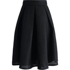 Chicwish Black Waffle Pleated Midi Skirt