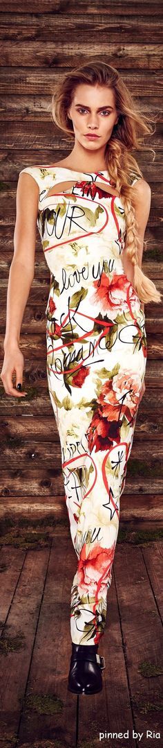 Philipp Plein Pre Fall 2016 floral maxi dress @roressclothes closet ideas #women fashion outfit #clothing style apparel