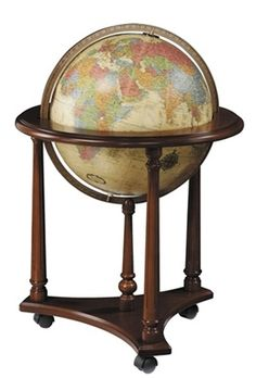 The Lafayette 16-inch Antique Ocrean Illuminated Floor Standing World Globe by Replogle stands 33 inches tall and evokes an old world charm with its solid, walnut finished hardwood base and antique style mapping with illumination. #reploglefloorglobes #replogleilluminatedglobes #replogledesktopglobes #replogletabletopglobes