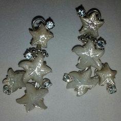 Orecchini stelle madreperla e topazio in argento 925