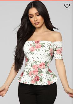 Brand new, never worn. Tags attached Size small True to size Peplum Floral & Dot Print Off Shoulder Polyester, Spandex White Jeans Outfit, Fashion Nova Models, Tie, White Fashion, Cut And Style, Beautiful Outfits, Blouses For Women, Floral Tops, Fitness