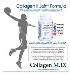 Collagen II Joint Formula by Collagen M.D.® is a professional dietary supplement formulated with Collagen Type II Protein, a source of 18 amino acids and a blend of hyaluronic acid, chondroitin, glucosamine to help support the natural mechanisms of the body that maintain joint and cartilage health* Fortified with vitamin C, trace mineral manganese and pomegranate extract, standardized to 70% ellagic acid.* Made in the USA under strict cGMP guidelines #hooper #basketball