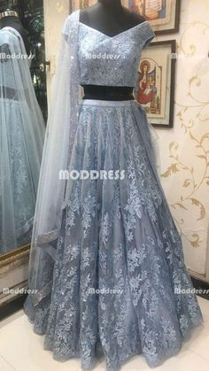 2 Pieces Long Prom Dresses Applique Beaded Evening Dresses Off the Shoulder Formal Dresses Designer Bridal Lehenga, Lehenga Designs, Indian Wedding Outfits, Indian Outfits, Indian Designer Outfits, Designer Dresses, Evening Dresses, Prom Dresses, Formal Dresses