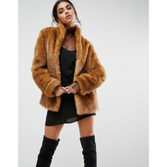 ASOS Coat in Vintage Faux Fur ($100) ❤ liked on Polyvore featuring outerwear, coats, brown, faux fur lined coat, tall coats, fake fur coat, fur-lined coats and faux fur shawl