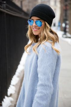 Steal Her Style: Babyblue Coat Mode Style, Style Me, Steal Her Style, Runway Fashion, Fashion Tips, Fashion Trends, Street Fashion, Latest Fashion, Fashion Outfits