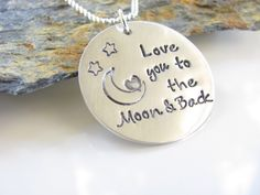 Love You To The  Moon.........Hand Stamped, Sterling Silver and just Adorable. by AoDesigns on Etsy (null)