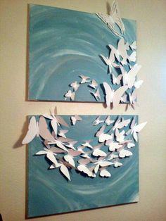 Madam Butterfly Flutterby Set x Bemalte Leinwand - Wandschmuck - Painting Love Butterfly Wall Art, Paper Butterflies, Paper Flowers, Butterfly Crafts, Butterfly Design, Art Mural 3d, 3d Wall Art, Diy Canvas, Canvas Art