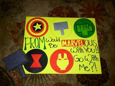 PROM sign I made! Marvel Super Hereos Prom Proposal.