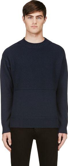 Rag & Bone - Navy Textured-Knit Dexter Sweater | SSENSE