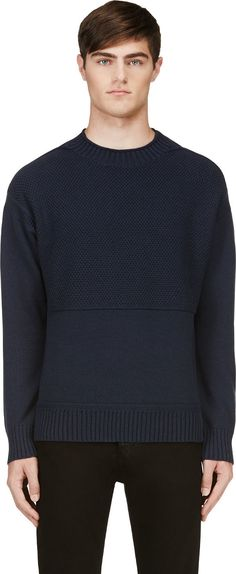 Rag & Bone - Navy Textured-Knit Dexter Sweater | SSENSE