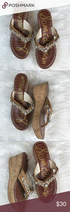 Sam Edelman Wedge Thong Sandal Sam Edelman Thong Wedge Sandal Beautiful Tone Detail Size 10 Never Worn -- These are missing one stone on the very edge of the Sandal it could easily be replaced if you crafty Sam Edelman Shoes Wedges