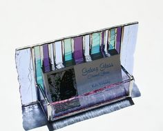 Beautiful and unique stained glass business card holder--purple, lavender, and blue iridescent