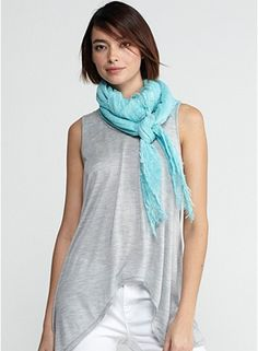 Square scarf in tinted cotton gauze
