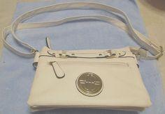 "White Bueno Leather Shoulder Purse/Bag  w/Satin Lining 9""W X 6.5""T X 2.0"" Deep #Bueno #ShoulderBag"