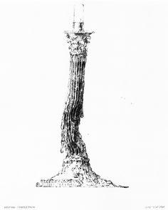 James Wines/SITE, Melting Candlestick, Variation of Melting Silver Column, 1986