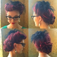 From my birthday, this was my hair that I did for swing dancing that night. I pinned up the hair that was down earlier in the day into a randomly assorted chignon and then added a fascinator over my victory rolls.