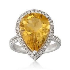 7.30 Carat Citrine and 1.00 ct. t.w. Diamond Ring in 14kt White Gold