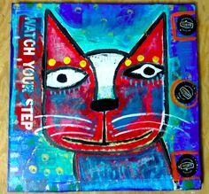 Tracey Ann Finley Original Outsider Raw Folk Painting PORTRAIT OF A STREET CAT  #OutsiderArt