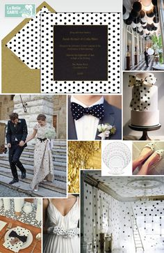 Polka dot wedding, online wedding invitations, polka dot party, black and white wedding, gold wedding, wedding cake, wedding ideas