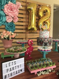 See how to organize your party 18 years with amazing themes to impress guests! 70 are inspirations to do on your day! 18th Birthday Cards, Birthday Party Tables, Birthday Party Outfits, 20th Birthday, Birthday Diy, Birthday Celebration, Flamingo Birthday, Flamingo Party, Simple Birthday Decorations