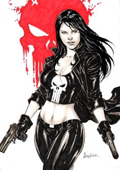 Lady Punisher - Lynn Michaels is a fictional vigilante, and ally of the Marvel Comics antihero the Punisher. She was created by Chuck Dixon and John Romita Jr., and first appeared in The Punisher War Zone Vol. Marvel Women, Marvel Girls, Comics Girls, Comic Book Characters, Comic Character, Comic Books Art, Marvel Characters Female, Punisher Marvel, Daredevil