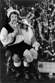 Alice Cooper Santa with  Wolfman Jack, NYC, 1973.