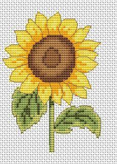 free sunflower cross stitch chart   Amanda Gregory cross-stitch design