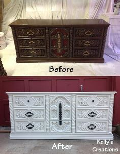 refinished furniture before and after | white dresser with black pulls before and after pictures. Refinished ...