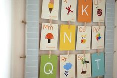 Hang flashcards as art in a child's room. Here's a tutorial for how to make the frame.