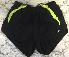 Brooks For Women athletic running Shorts Black Neon Yellow Equilibrium Tech #Brooks #Shorts