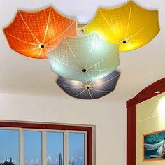 246.90$  Buy now - http://alifzh.worldwells.pw/go.php?t=32781547311 - Modern Children Bedroom Ceiling Lamps Multicolour Umbrella Glass Lampshade Kids Room Lights E27 led Lamparas  110v 220v 246.90$