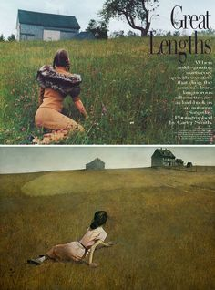 Angela Lindvall as Andrew Wyeth's Christina's World (1948)  Vogue, October 1998  Photo by Carter Smith