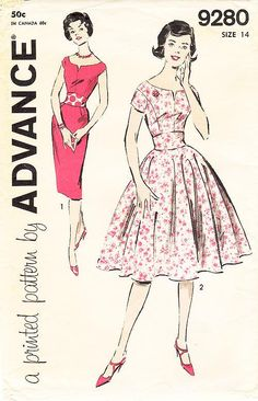 Advance 9280 - Used vintage pattern.    This is a printed pattern.  The pattern pieces are cut.  The pattern pieces are in very good condition.