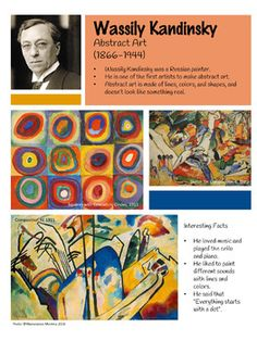 Wassily Kandinsky Artist Poster - Wassily Kandinsky Artist Poster by Masterpiece Momma - Art History Lessons, Art Lessons For Kids, Artists For Kids, Art Lessons Elementary, Art For Kids, Kandinsky For Kids, Kandinsky Art, Wassily Kandinsky Paintings, Circle Painting