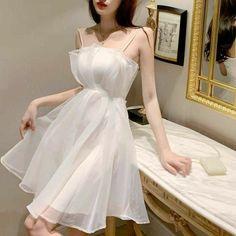 Korean Fashion Dress, Korean Dress, Ulzzang Fashion, Kpop Fashion Outfits, Mode Outfits, Dress Outfits, Fashion Dresses, Skater Fashion, Cute Casual Outfits