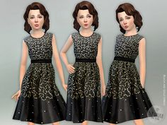 Black and Gold Dress for Girls  Found in TSR Category 'sims 4 Female Child Everyday'